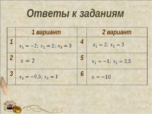 Ответы к заданиям 1 вариант2 вариант 14 25 36