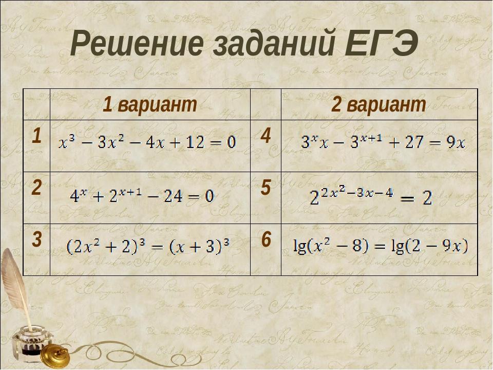 Решение заданий ЕГЭ 1 вариант2 вариант 14 25 36