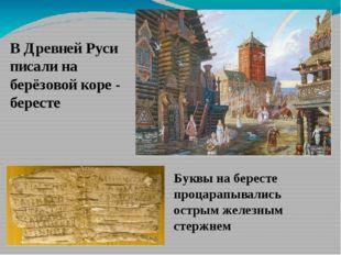 В Древней Руси писали на берёзовой коре - бересте Буквы на бересте процарапыв