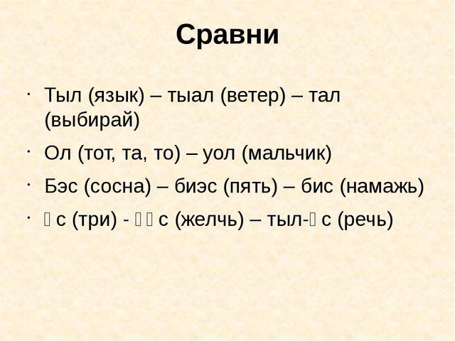 Сравни Тыл (язык) – тыал (ветер) – тал (выбирай) Ол (тот, та, то) – уол (маль...
