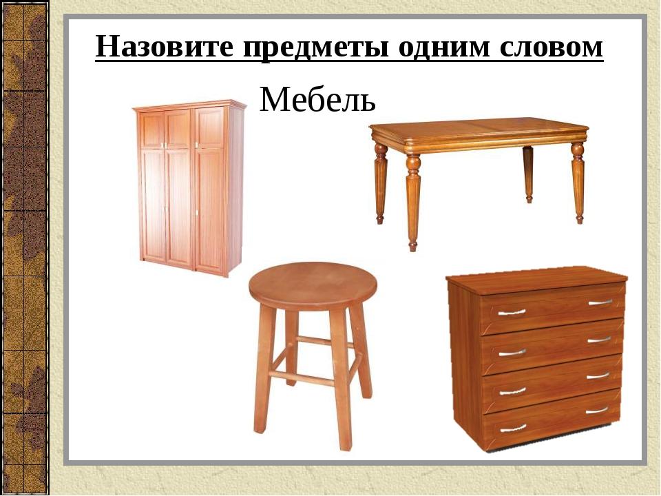Назовите предметы одним словом Мебель