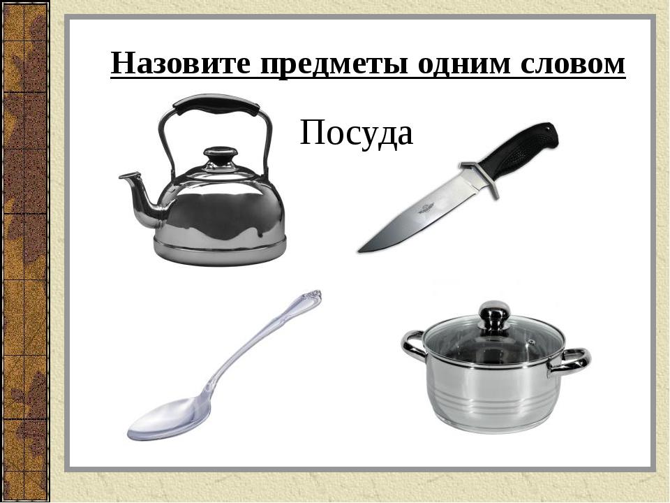 Назовите предметы одним словом Посуда