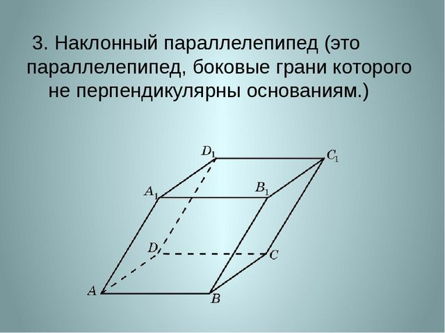 3. Наклонный параллелепипед (это параллелепипед, боковые грани которого не п...