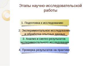 3. Анализ и синтез результатов экспериментального исследования 2. Эксперимент