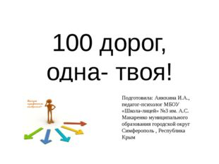 100 дорог, одна- твоя! Подготовила: Анюхина И.А., педагог-психолог МБОУ «Школ