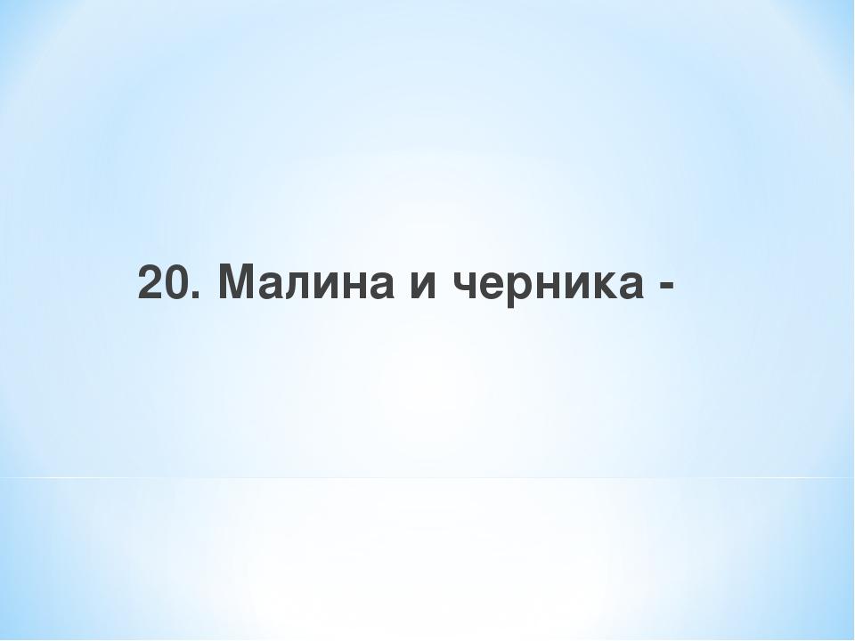20. Малина и черника -