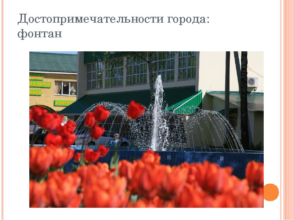 Достопримечательности города: фонтан