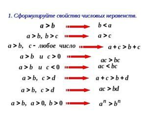 1. Сформулируйте свойства числовых неравенств.