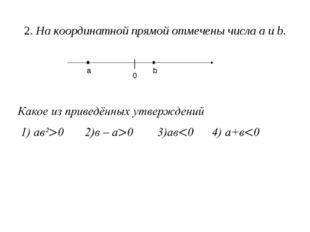 2. На координатной прямой отмечены числа а и b. а b │ 0
