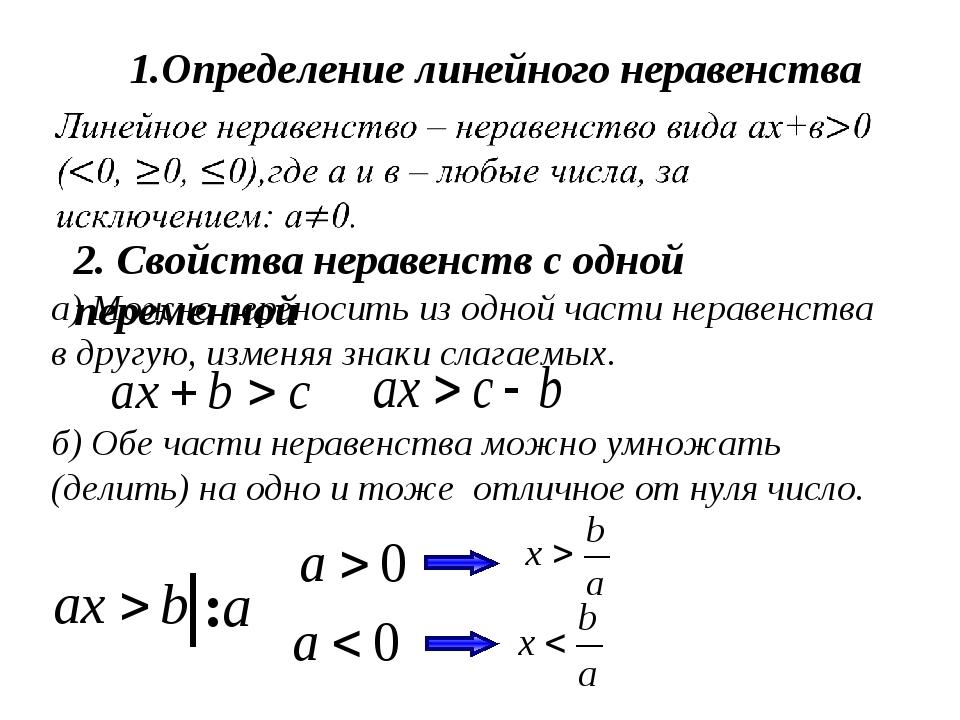 1.Определение линейного неравенства 2. Свойства неравенств с одной переменной...