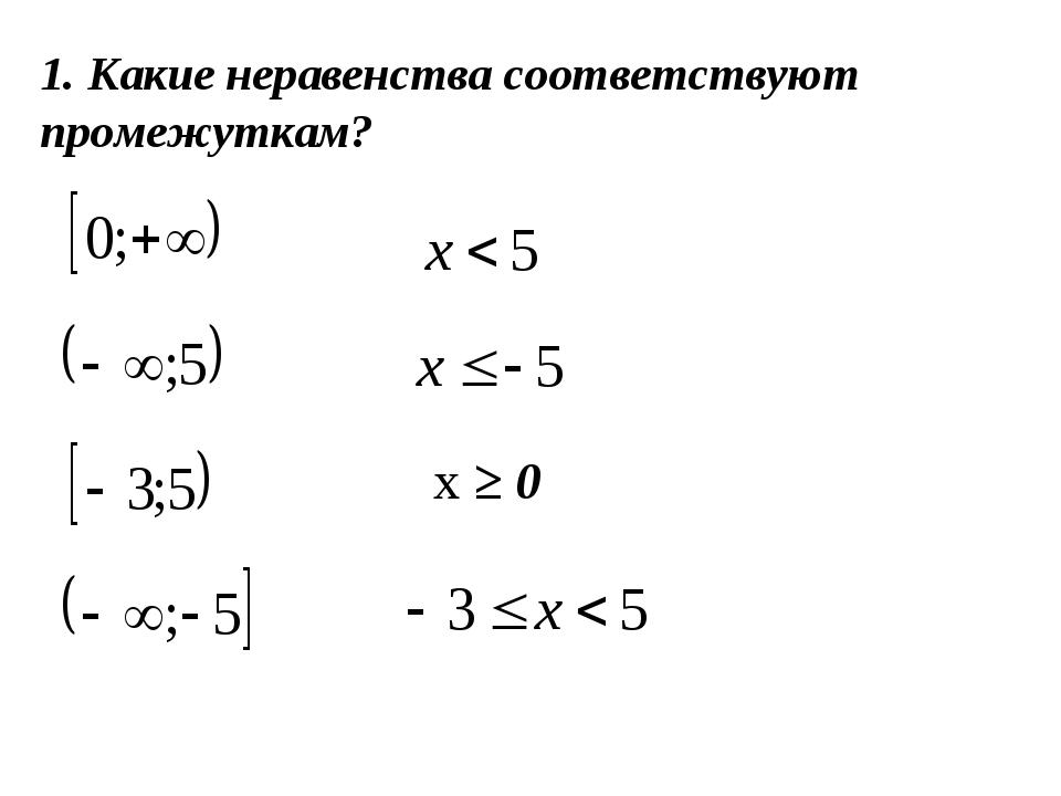 1. Какие неравенства соответствуют промежуткам? х ≥ 0