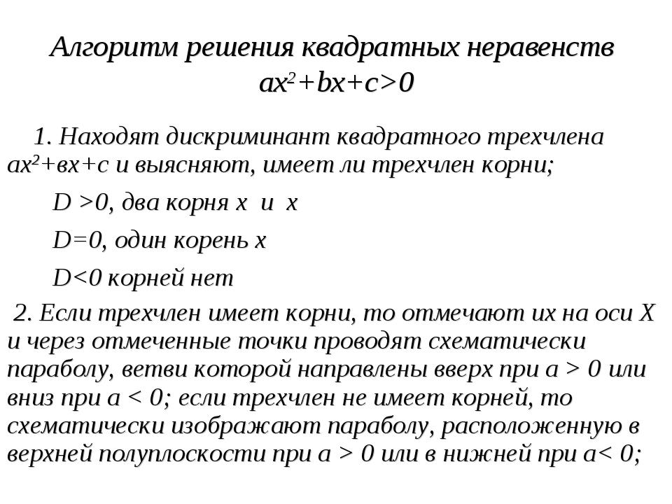 Алгоритм решения квадратных неравенств ax2+bx+c>0 1. Находят дискриминант ква...