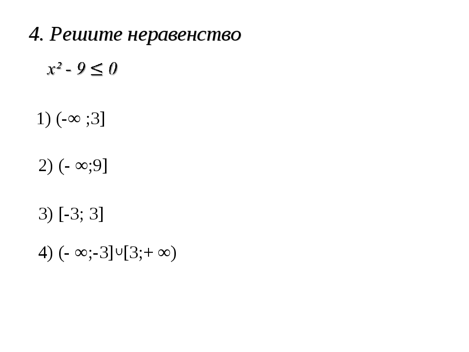 4. Решите неравенство 1) (-∞ ;3] 2) (- ∞;9] 3) [-3; 3] 4) (- ∞;-3] [3;+ ∞)