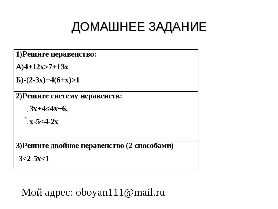 ДОМАШНЕЕ ЗАДАНИЕ Мой адрес: oboyan111@mail.ru 1)Решите неравенство: А)4+12х>7...