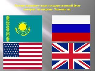 Назови название стран государственный флаг которых ты видишь. Запомни их.