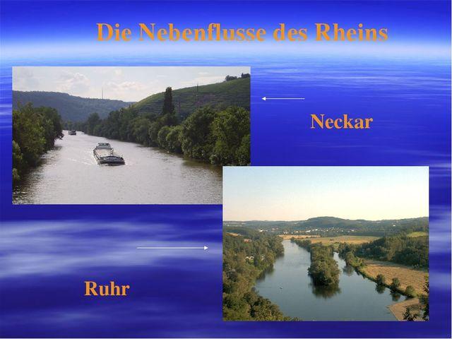 Die Nebenflusse des Rheins Neckar Ruhr