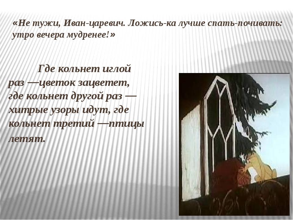 «Не тужи, Иван-царевич. Ложись-ка лучше спать-почивать: утро вечера мудренее!...