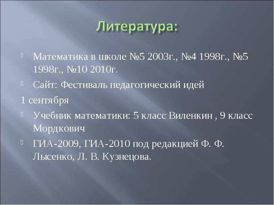 Математика в школе №5 2003г., №4 1998г., №5 1998г., №10 2010г. Сайт: Фестивал...