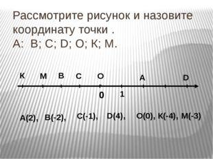 Рассмотрите рисунок и назовите координату точки . А: В; С; D; О; К; М. 0 1 К