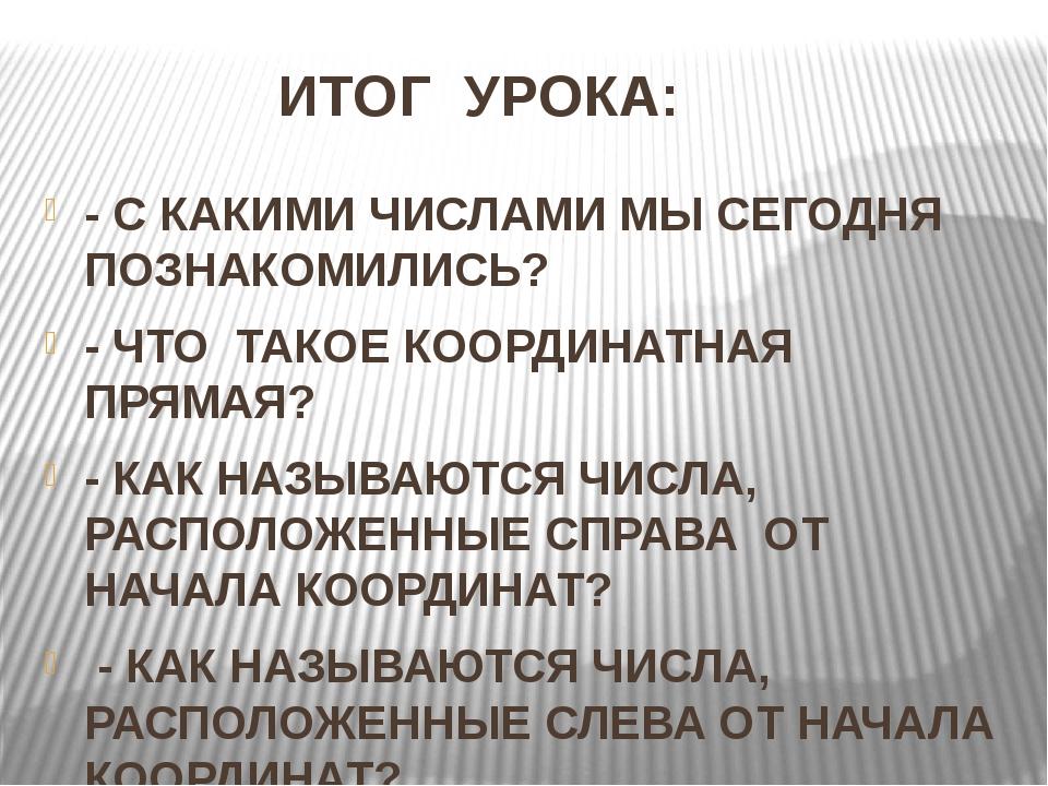 ИТОГ УРОКА: - С КАКИМИ ЧИСЛАМИ МЫ СЕГОДНЯ ПОЗНАКОМИЛИСЬ? - ЧТО ТАКОЕ КООРДИН...