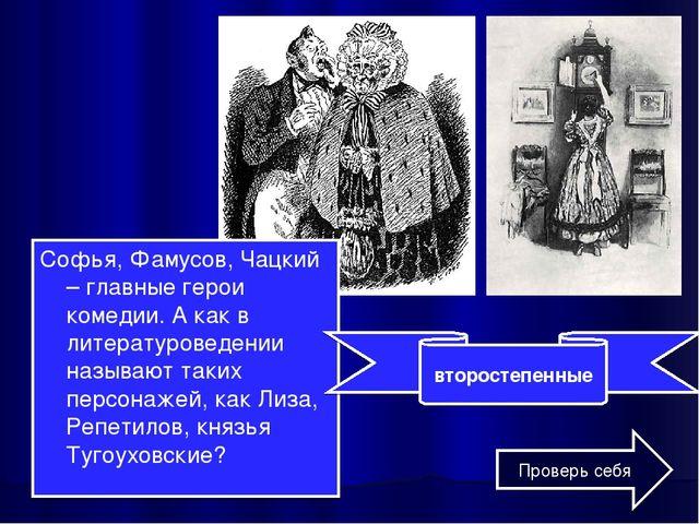 Софья, Фамусов, Чацкий – главные герои комедии. А как в литературоведении наз...