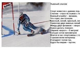 Лыжный слалом Спорт известен с давних пор. Слалом – спуск на лыжах с гор. Важ
