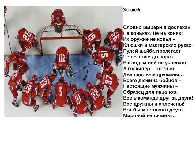 Хоккей Словно рыцари в доспехах На коньках. Не на конях! Их оружие не копья...