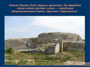 Башня Зенона. Вид снаружи крепости. На переднем плане видна протейхизма — пе