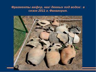 Фрагменты амфор, найденных под водой в сезон 2011 г. Фанагория.