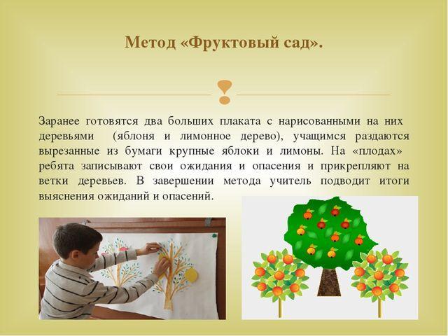 Заранее готовятся два больших плаката с нарисованными на них деревьями (яблон...
