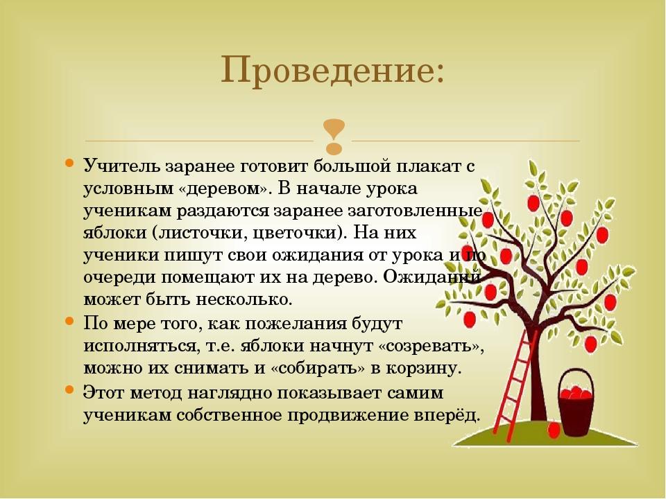 Проведение: Учитель заранее готовит большой плакат с условным «деревом». В на...