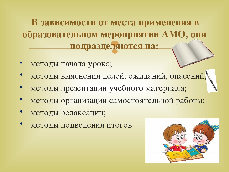 методы начала урока; методы выяснения целей, ожиданий, опасений; методы през...
