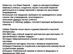 Известно, чтоИван Павлов –один из авторитетнейших мировых учёных, создател