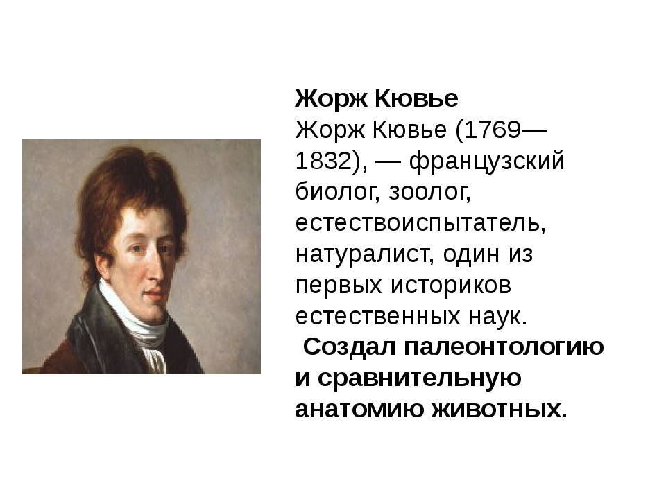 Жорж Кювье Жорж Кювье (1769—1832), — французский биолог, зоолог, естествоиспы...