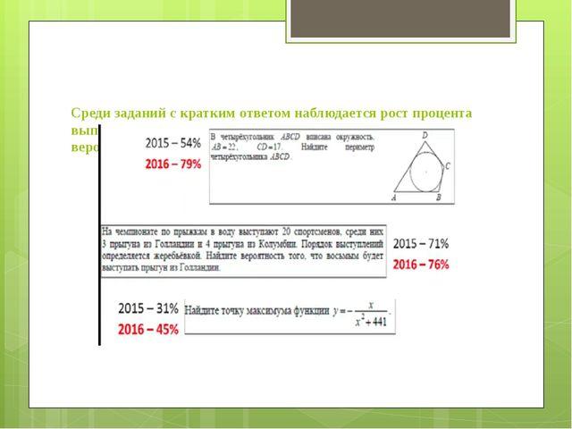 Среди заданий с кратким ответом наблюдается рост процента выполнения геометр...