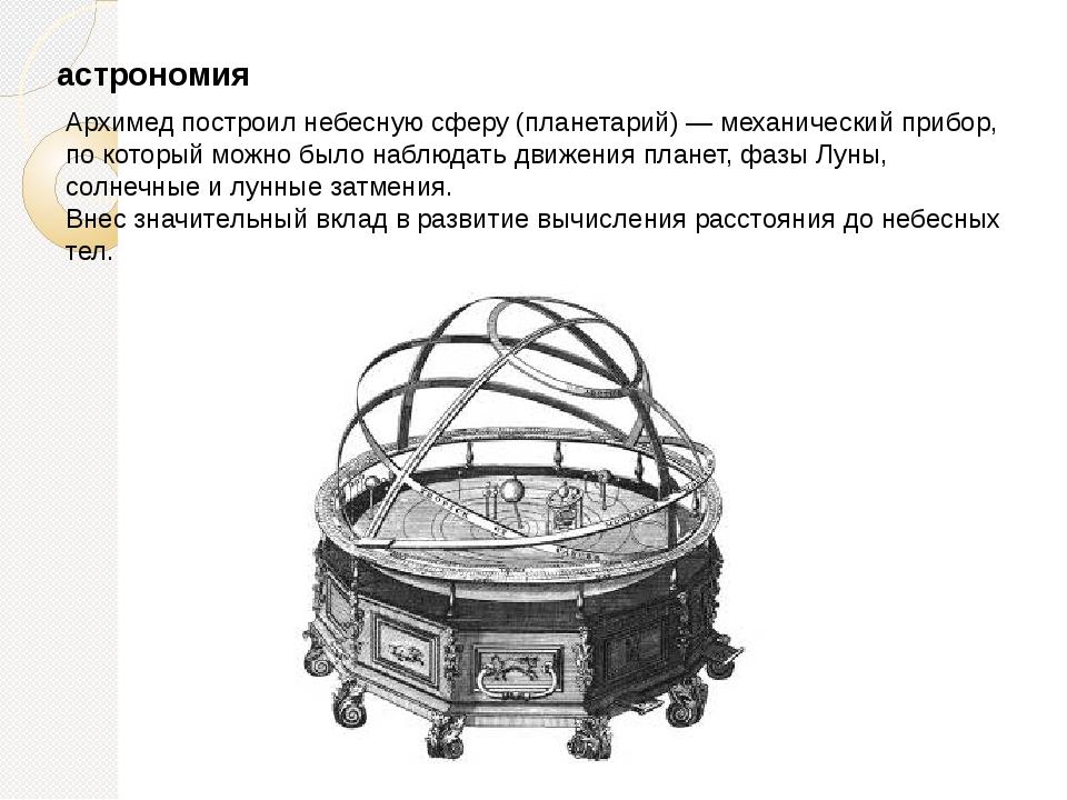 астрономия Архимед построил небесную сферу (планетарий) — механический прибор...