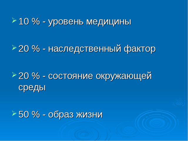 10 % - уровень медицины 20 % - наследственный фактор 20 % - состояние окружаю...