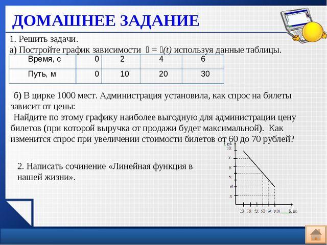 ДОМАШНЕЕ ЗАДАНИЕ 1. Решить задачи. а) Постройте график зависимости
