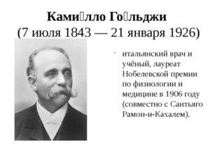 Ками́лло Го́льджи (7 июля 1843 — 21 января 1926) итальянский врач и учёный, л