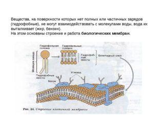 Вещества, на поверхности которых нет полных или частичных зарядов (гидрофобны