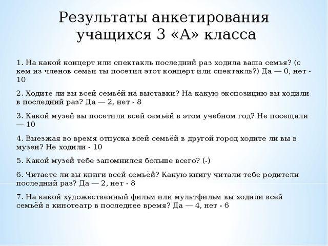 Результаты анкетирования учащихся 3 «А» класса 1. На какой концерт или спекта...