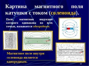 * Картина магнитного поля катушки с током (соленоида). Поле, магнитная индукц