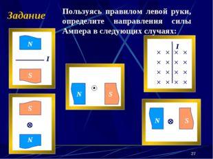 * Задание Пользуясь правилом левой руки, определите направления силы Ампера в