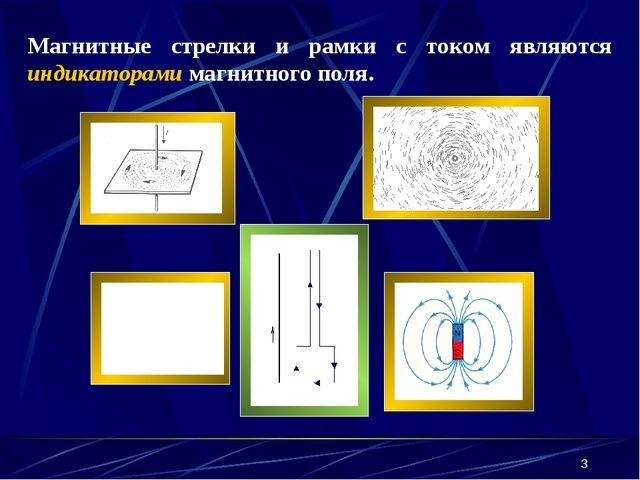 * Магнитные стрелки и рамки с током являются индикаторами магнитного поля.