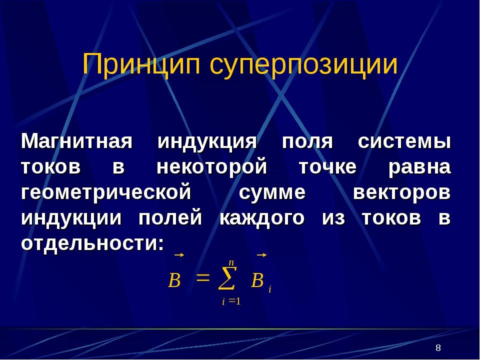 * Принцип суперпозиции Магнитная индукция поля системы токов в некоторой точк...