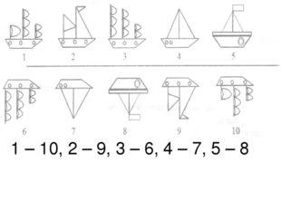 1 – 10, 2 – 9, 3 – 6, 4 – 7, 5 – 8