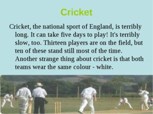 Cricket Cricket, the national sport of England, is terribly long. It can take