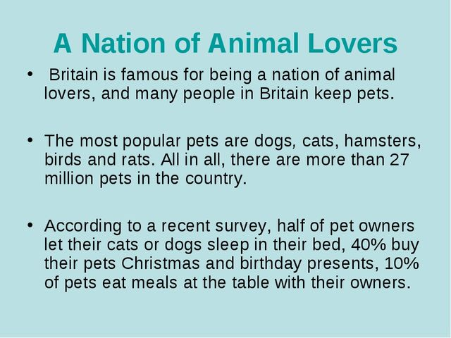 A Nation of Animal Lovers Britain is famous for being a nation of animal love...