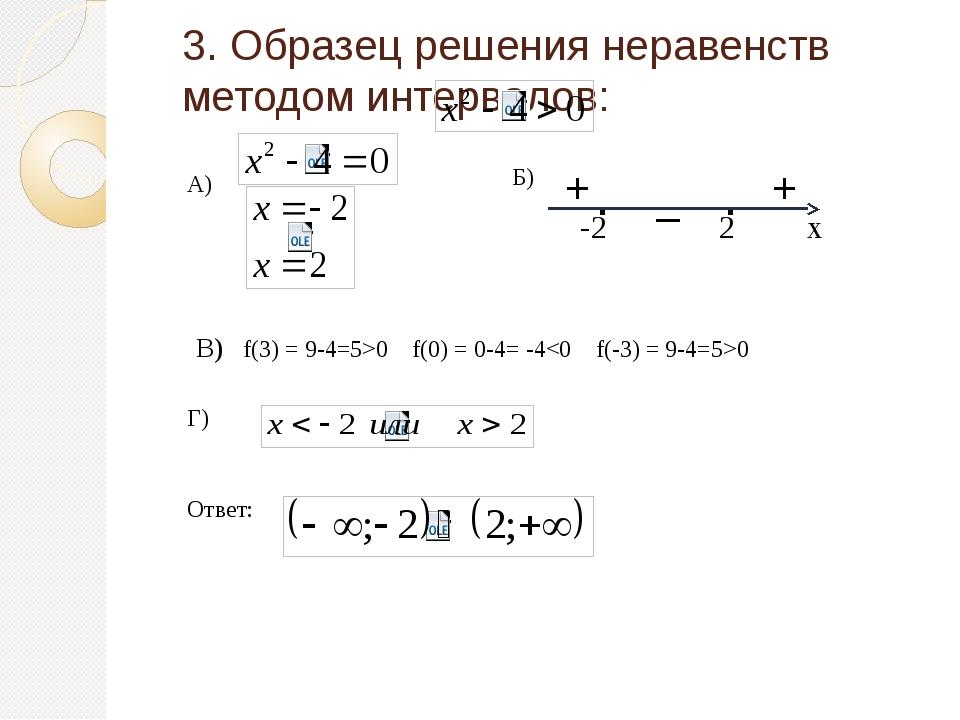 3. Образец решения неравенств методом интервалов: -2 2 х . . Г) В) f(3) = 9-4...