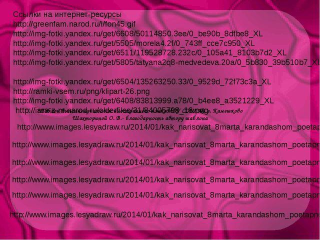 Ссылки на интернет-ресурсы http://greenfam.narod.ru/i/fon45.gif http://img-fo...